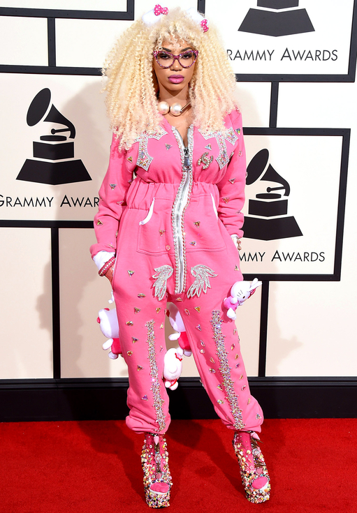 Denicia in Pink Pajama Look on red carpet