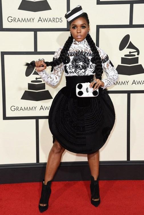 Janelle Monae in Jean Paul Gaultier Black Skirt and hat