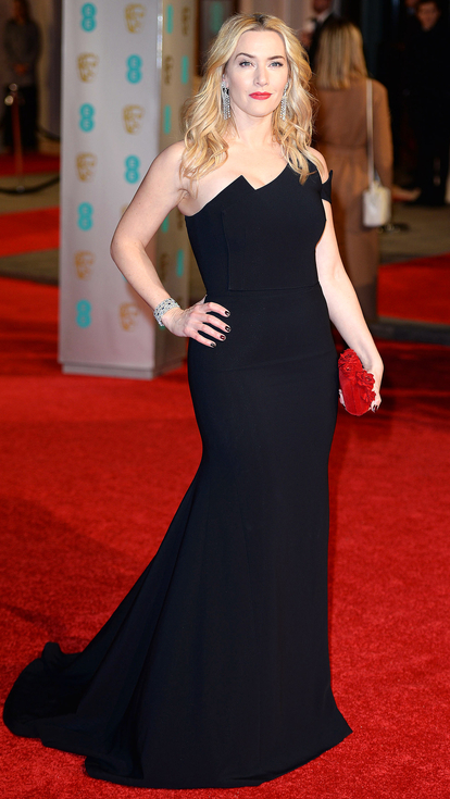 Kate Winslet black Antonio Berardi assymetriucal gown rted carpet
