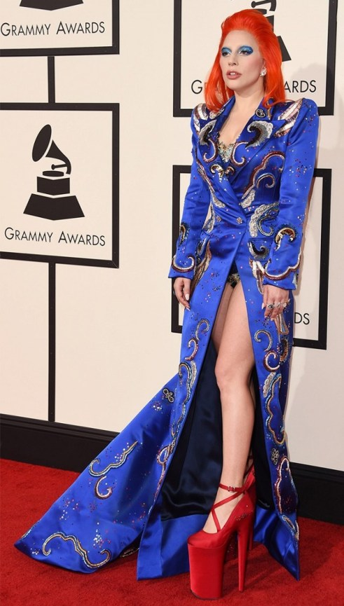 Lady Gaga in Marc Jacobs Blue satin coat red platform shoes