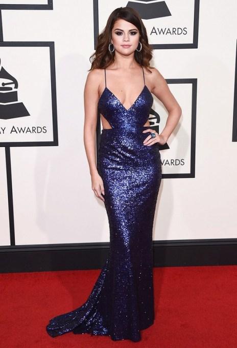 Selena Gomez Blue Sequin Calvin Klein Collection gown