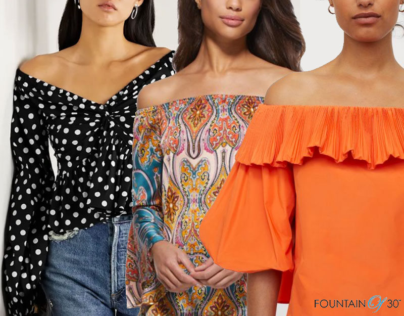 how to wear the off-the-shoulder top trend