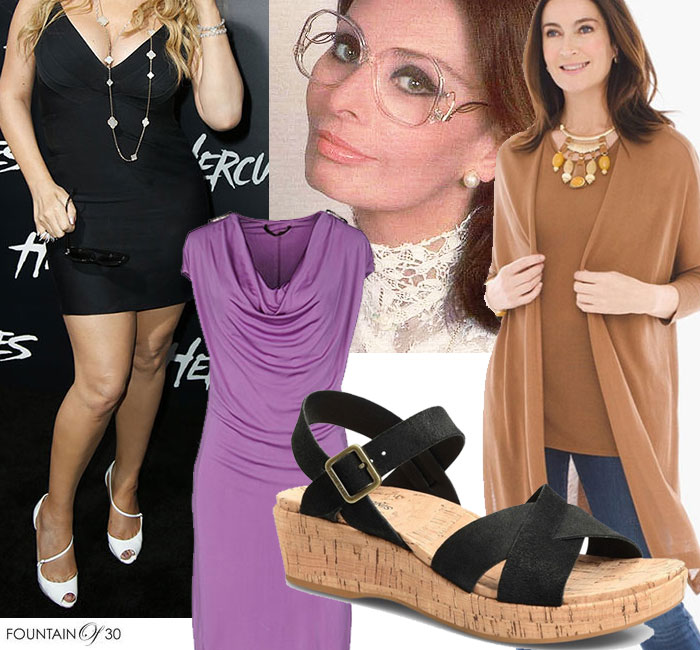 Fashion Mistakes That Make You Look Older too short dress out of style glasses cork sole sandal and oversize sweater set