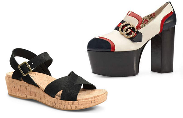 10 fashion mistakes that make you look older chunky shoes cork flatform sandal platform Gucci shoe