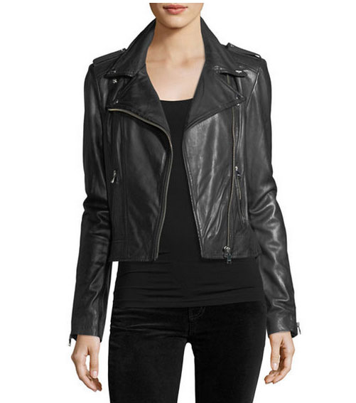 Mandy Moore look for less leather jacket