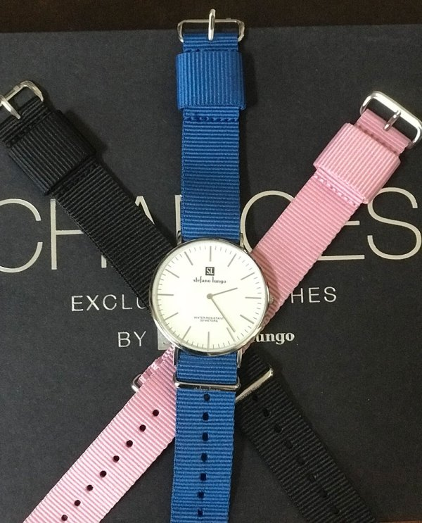 Stefano Lungo Changes Watch 3 band colors blue pink black