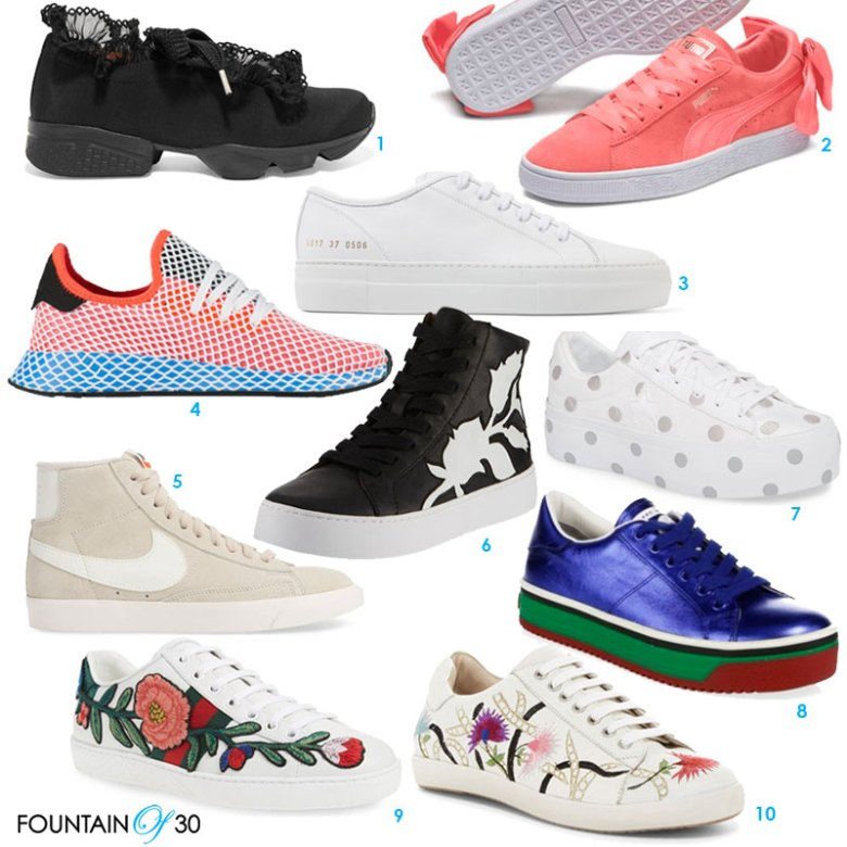 stylish sneakers for women over 40 ten pairs