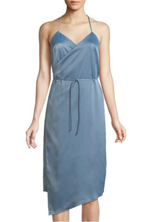 Priyanka Chopra look for less bliue Satin Wrap Slip Dress
