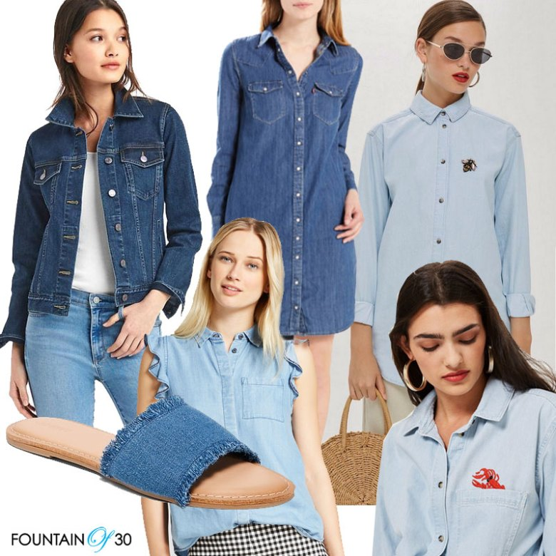 Denim Looks for Less, jean jacket, levis dress, chambray shirts, denim slides