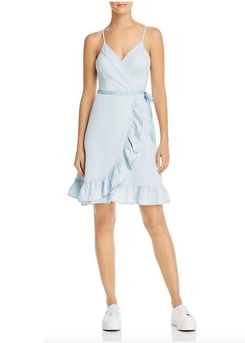 Penelope Cruz ruffle dress BLANKNYC chambray