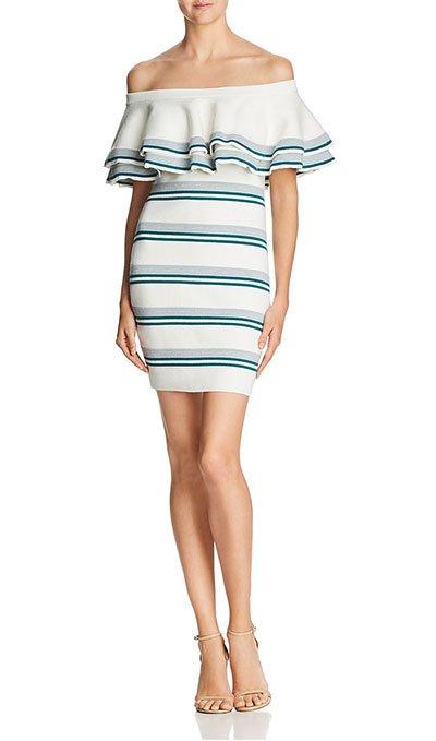 Penelope Cruz ruffle dress knit Endless Rose stripe