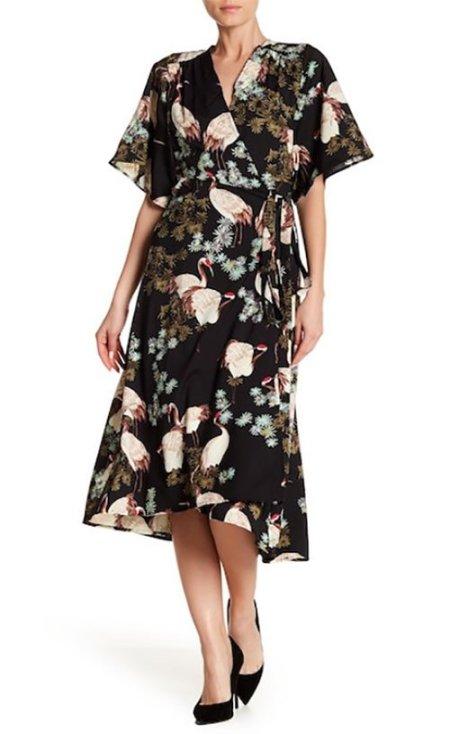 sarah jessica parker flirty floral wrap dress