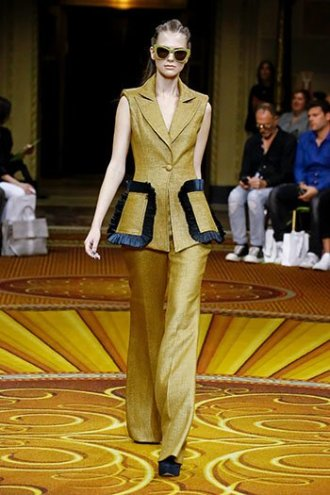 marigold yellow christian siriano pants vest SS19