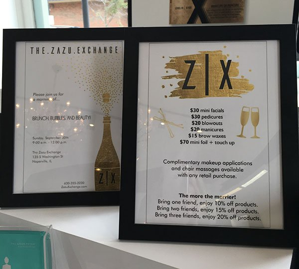 anti-aging hairstyling tips Zazu Exchange event sign with invitation