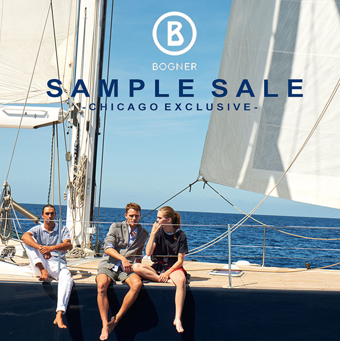 Bogner Sample Sale Chicago exclusive two men one woman sitting on sail boat