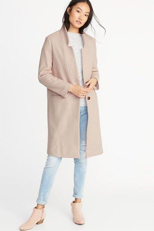 Kerry Washington cozy pastel look blush coat
