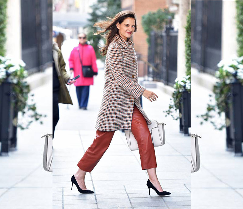 Katie Holmes Houndstooth and Leather