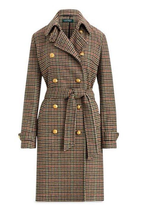 Katie Holmes Houndstooth and Leather Lauren Ralph Lauren Houndstooth Wool Trench Coat