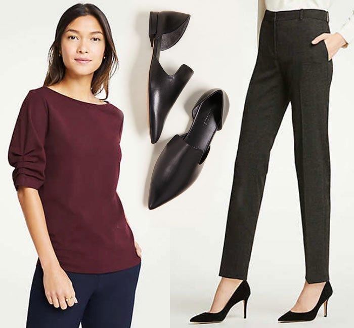Wear For Thanksgiving burgundy short sleeve top, black pants, flat shoes