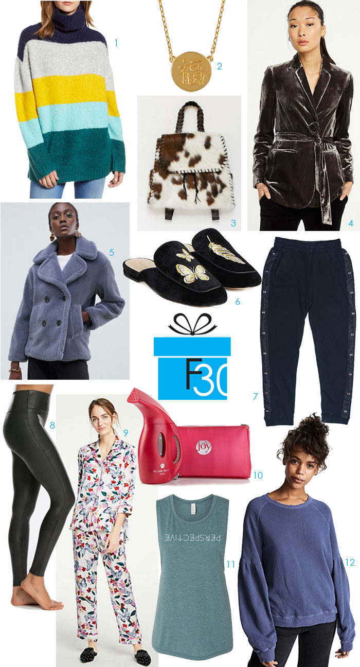 gift guide for a fashionista collage of sweaters, jackets, shoes, jewelry