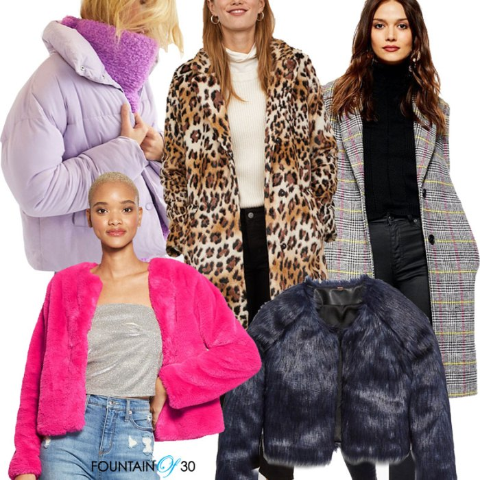 coats for holiday parties 5 styles on models, lilac puffer, leopard, check, hot ping fur, black fur