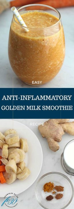 Golden Milk Smoothie recipe serving in a glass and ingredients carrots bananas ginger root and spices
