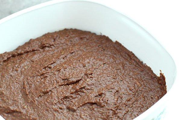 Dark Chocolate Zucchini Brownies batter in pan