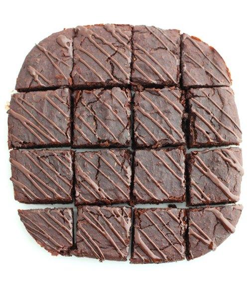 gluten-free Dark Chocolate Zucchini Brownies cut into 16 squares