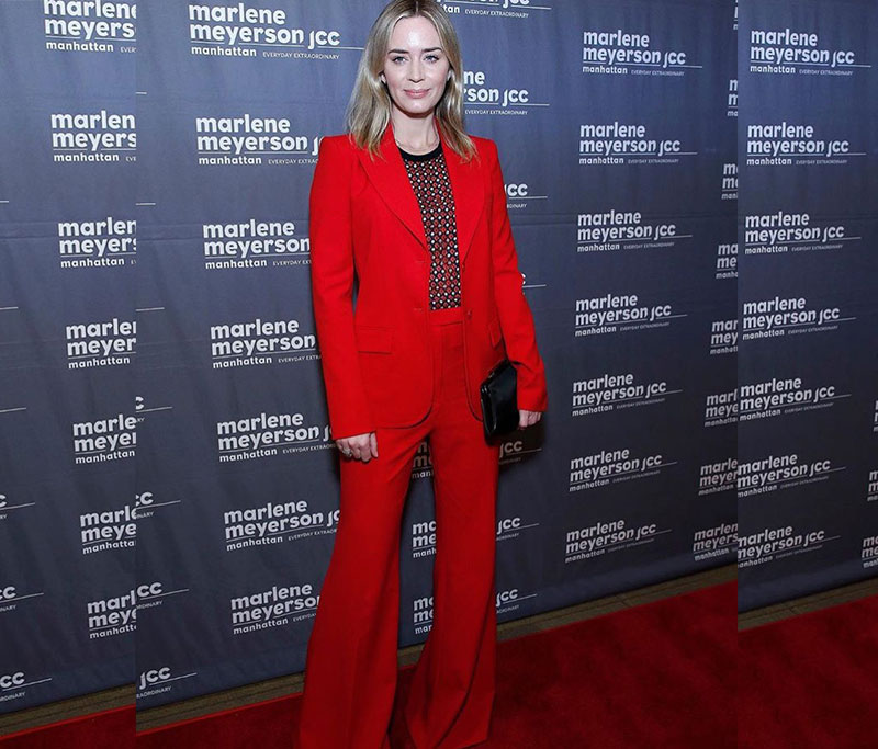 Emily Blunt red power suit