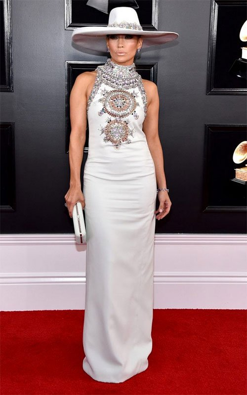 Jennifer Lopez in Ralph & Russo wide brim hat and white high collar embellished gown