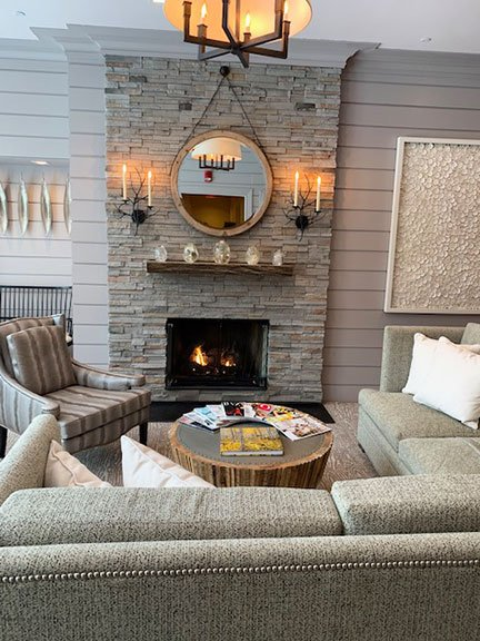 fireplace and lounge at Woodloch spa