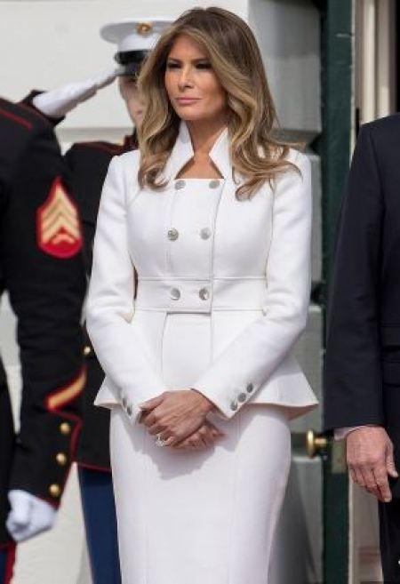 Melania Trump in white Chanel suit