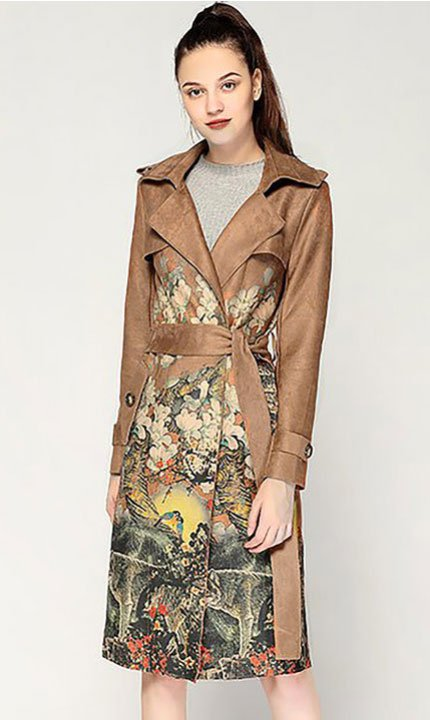 Maggie Gyllenhaal Boho Floral faux suede floral trench