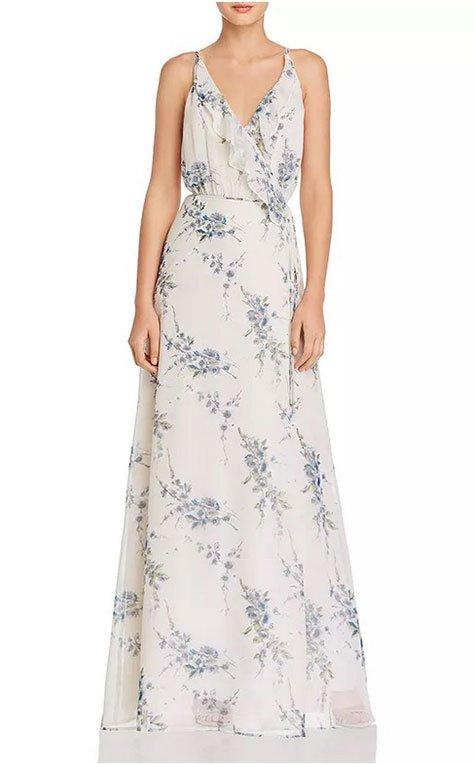 Maggie Gyllenhaal Boho Floral Look wrap maxi dress