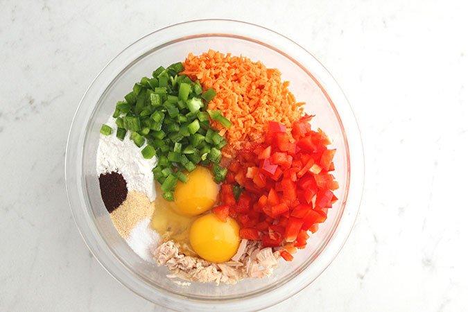 Paleo Sweet Potato Tuna Cakes ingredients in food processor