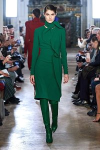 fall 2019 fashion trends monochrome elie saab green dress boots