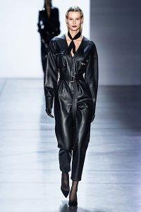 black matrix leather Sally LaPointe jumpsuit