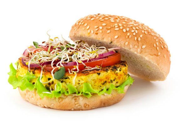 fake health foods veggie burger on a bun
