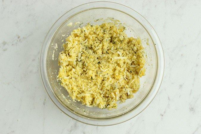Cauliflower Pizza crust ingredient in a bowl