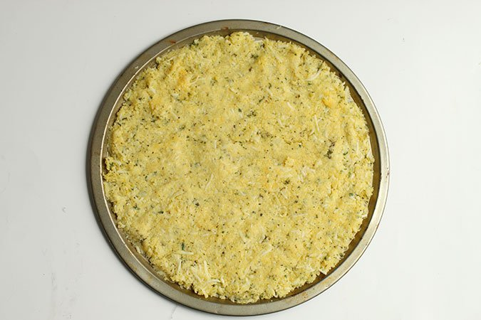 How to make Cauliflower Pizza crust pressed in a pizza pan