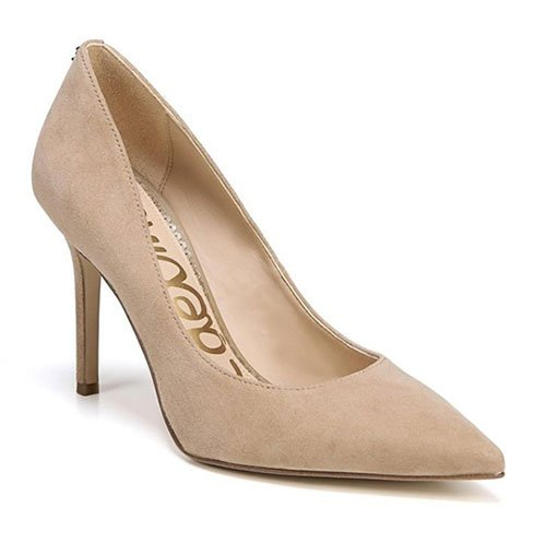amal clooney professional style beige suede Pointy Toe Pump fountainof30
