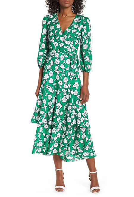 Spring Floral Look green floral Faux Wrap Dress