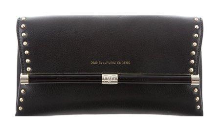 Sandra Bullock style Black Diane von Furstenberg 440 Envelope Clutch