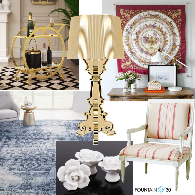 mixing home decorating styles modern lamp antique rug contemporary drink cart fountain of 30