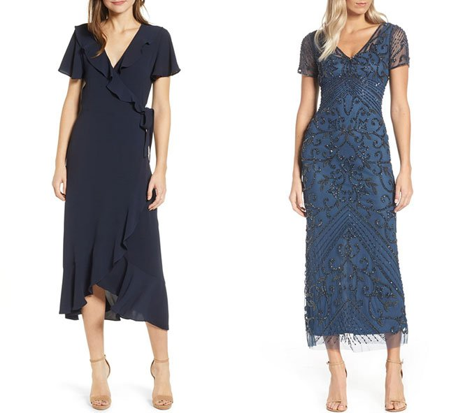 little blue dress What to Wear To A Wedding ruffle wrap and beaded midis