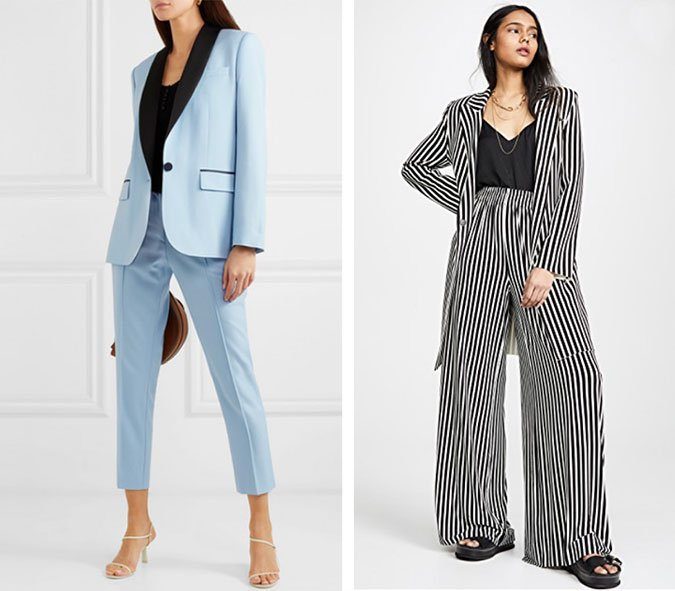 What to Wear To A Wedding elegant pantsuits for women blue tux and stripes