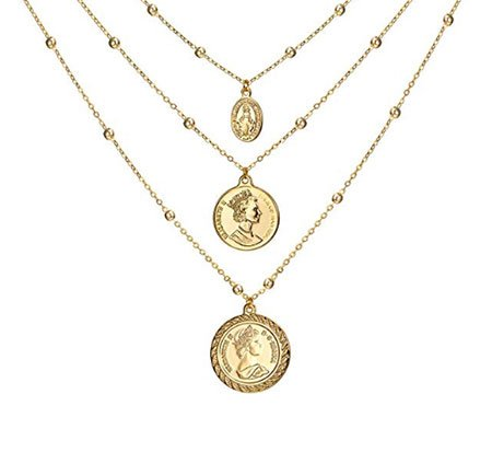 look for less Gold Coin Pendant Necklace fountainof30