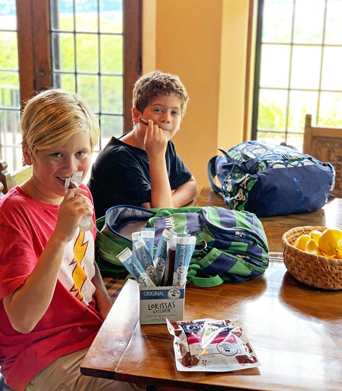 healthy snacks 2 boys kitchen table backbacks fountainof30