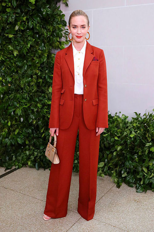 Emily Blunt red suit Tory Burch NYFW Spring 2020