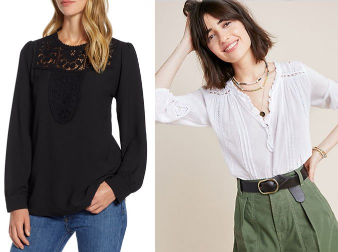 lace bluse trend black lace blouse white Peasant Blouse